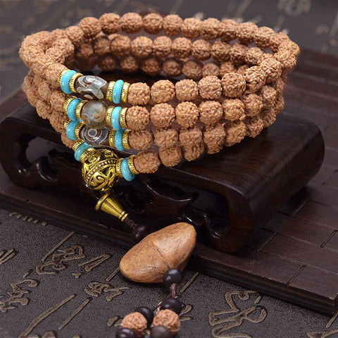 108 Tibetan King Kong Bodhi Seeds Mala Prayer Beads with Gold ingot bodhi seed