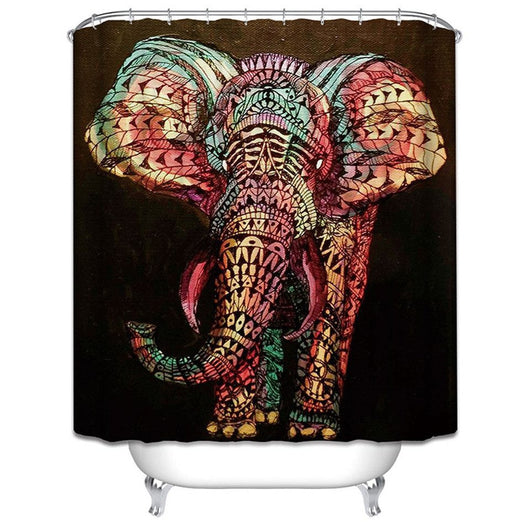 Mandala Boho Elephant Multi Print Shower Curtain with Hooks - 180x180cm