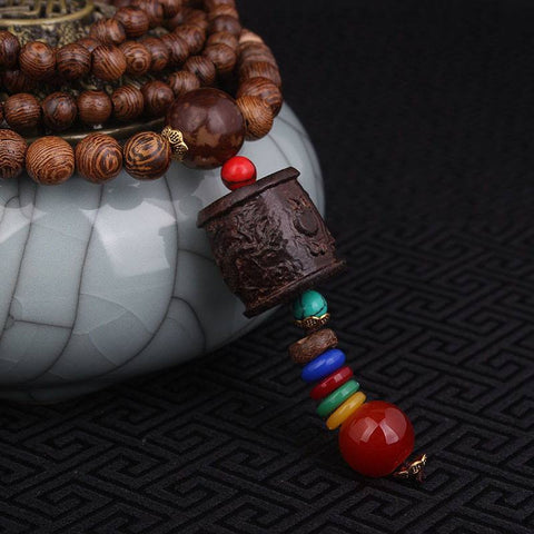Handmade Tibetan Buddha Sandalwood Necklace with Dragon Bell