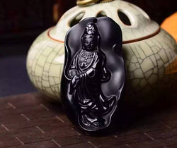 Fine carving Obsidian stone Full Buddha Pendant - Absorb Negative Energy
