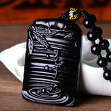 "Fine carving Obsidian stone Pendant - ""Jing Xin"" Peaceful heart"