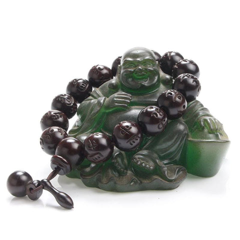 6 words mantra Buddhism mala Prayer Beads - Om Mani Padme Hum with wooden fish charm