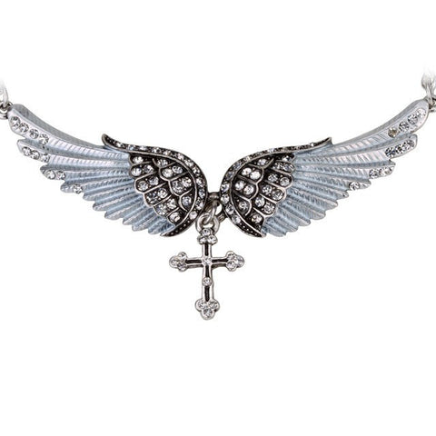 Kneel Down at the Cross Angel Wing Necklace + Pendant Set