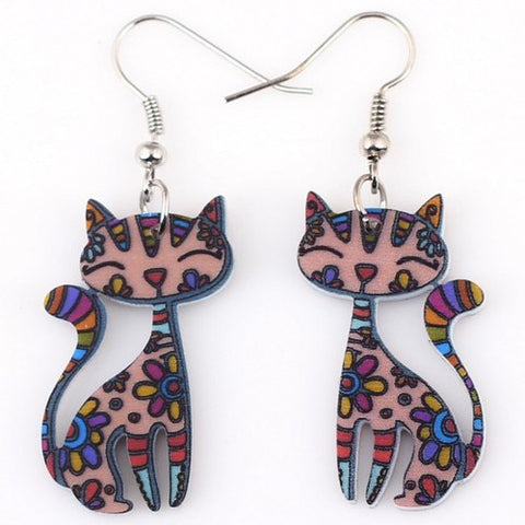 Enamel Pink Cat Drop Earrings with Flower Patterns