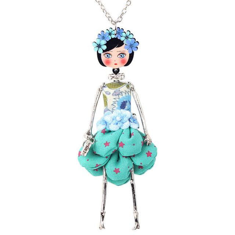 Enamel French Flower Doll Necklace Pendant Set