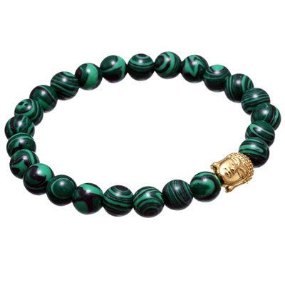 Premium Handmade Green Malachite Stone + Buddha Charm bracelet for Men - Aids Psychic Protection