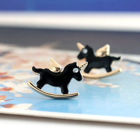 Cute Black Kuro Unicorn Stud Earrings