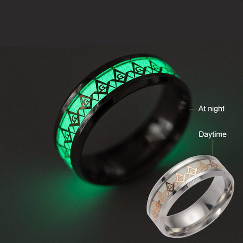 Freemason Glow in the Dark 8mm Ring