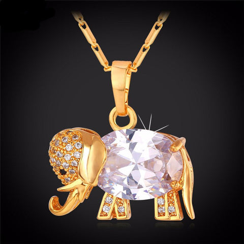 Zirconia Crystal Elephant Pendant & Necklace Set