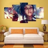 League Of Legends Jinx 5 Pieces Canvas Wall Art