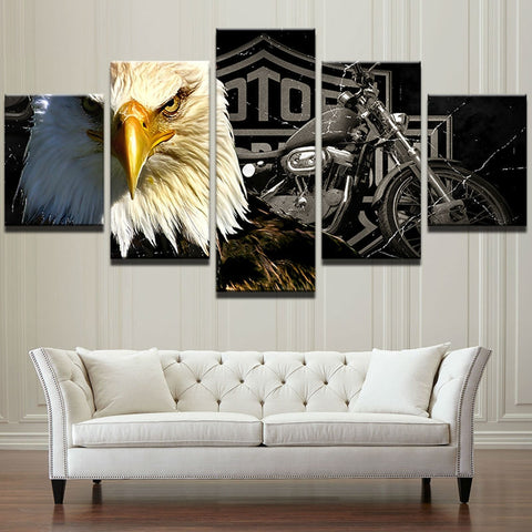 Harley Davidson Eagle 5 Pieces Canvas Wall Art
