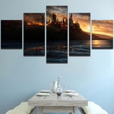 Harry Potter Burning Hogwarts Castle 5 Pieces Canvas Wall Art