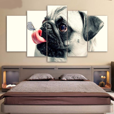 Cute Pug 5 Pieces Canvas Wall Art