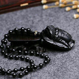 Natural Obsidian Guanyin Head Pendant Necklace