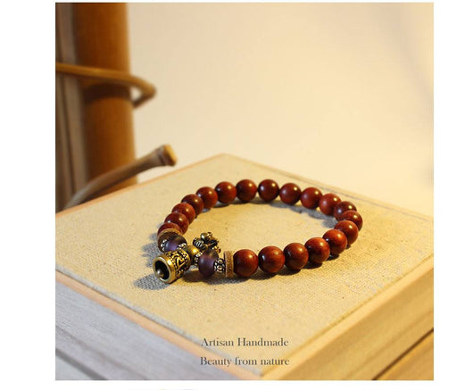 Tibetan Buddhism Sandalwood Mala Beads Bracelet with Six words Healing Bell