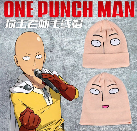 Awesome Cute + Funny One punch man Saitama knitted beanie + Mask