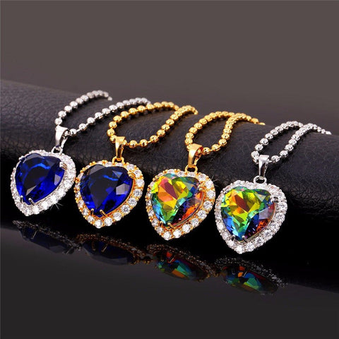 Heart Shaped Harmony Crystal Pendant Necklace set