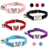 Heart Charm Pup Dog Cat Collar Choker + Bell  Elastic Quick release + Adjustable