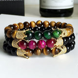 Premium Handmade Tiger's Eye + Paved Crown Charms bracelet - Aids Harmony & Balance