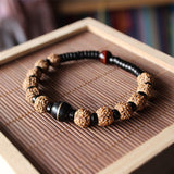 Tibetan Buddhism Rudraksha Seed Mala Beads Bracelet with Natural Coconut shell & Tiger Eye Bead