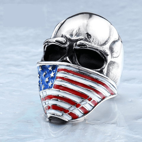 Hell Rider with America Flag Mask Steel Skull Ring for Bikers