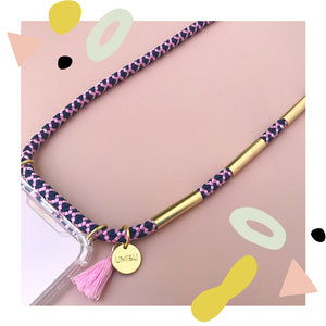 pink and blue phone necklace