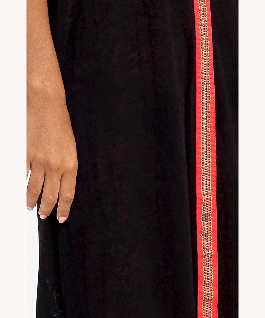 Black and Red Maxi Boho Dress