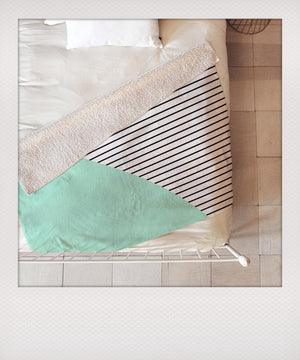 Mint & Stripes Sherpa Blanket