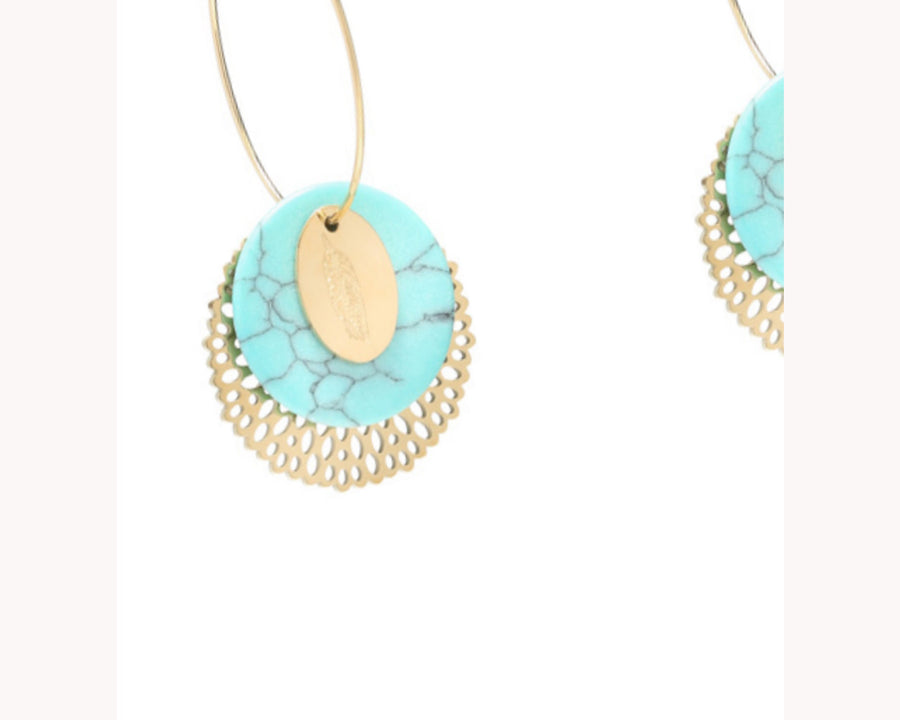 Dangling turquoise earrings