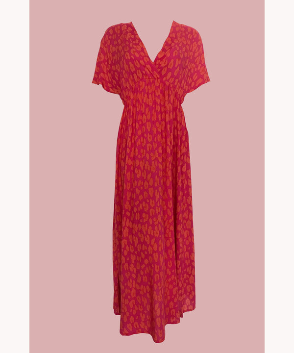 Leopard V-Neck Dress Raspberry
