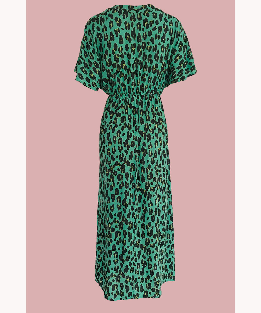 Leopard V-Neck Dress Bold Mint