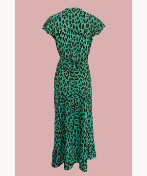 Leopard Wrap Dress Bold Mint