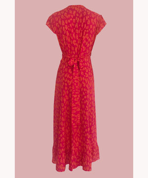 Leopard Wrap Dress Raspberry