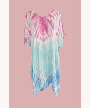 Multi coloured tie dye t shirt dress