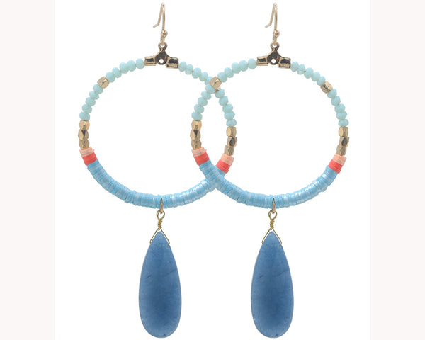 Blue bead boho earrings