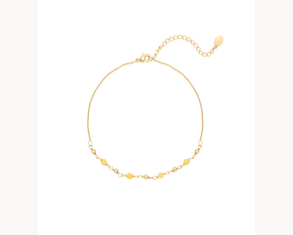 Kiwi Yellow Bead Gold Anklet