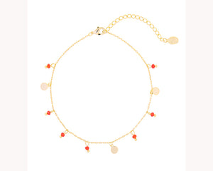 Gold Anklet Red Beads Dubai