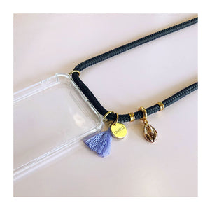 iphone case with grey strap and purple tassel and beach themed gold charms
