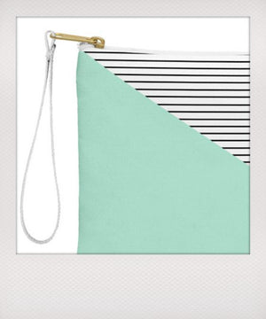 Mint & Stripes Wristlet
