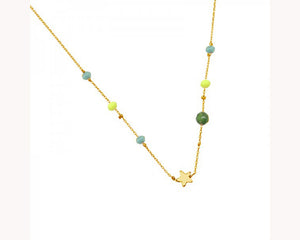 Delicate Green Bead and Star Necklace
