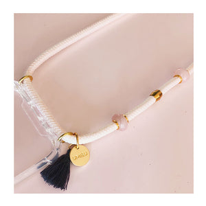 rose quartz phone necklace strap with gold beads and coin and grey tassel