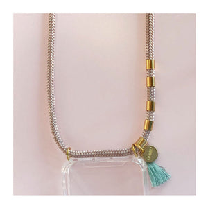 rose gold iphone strap with teal tassel and gold beads
