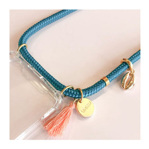 beach inspired phone necklaces with shell charms and gold beads and coral tassel
