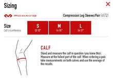 Load image into Gallery viewer, Compression Leg Sleeve Size Chart