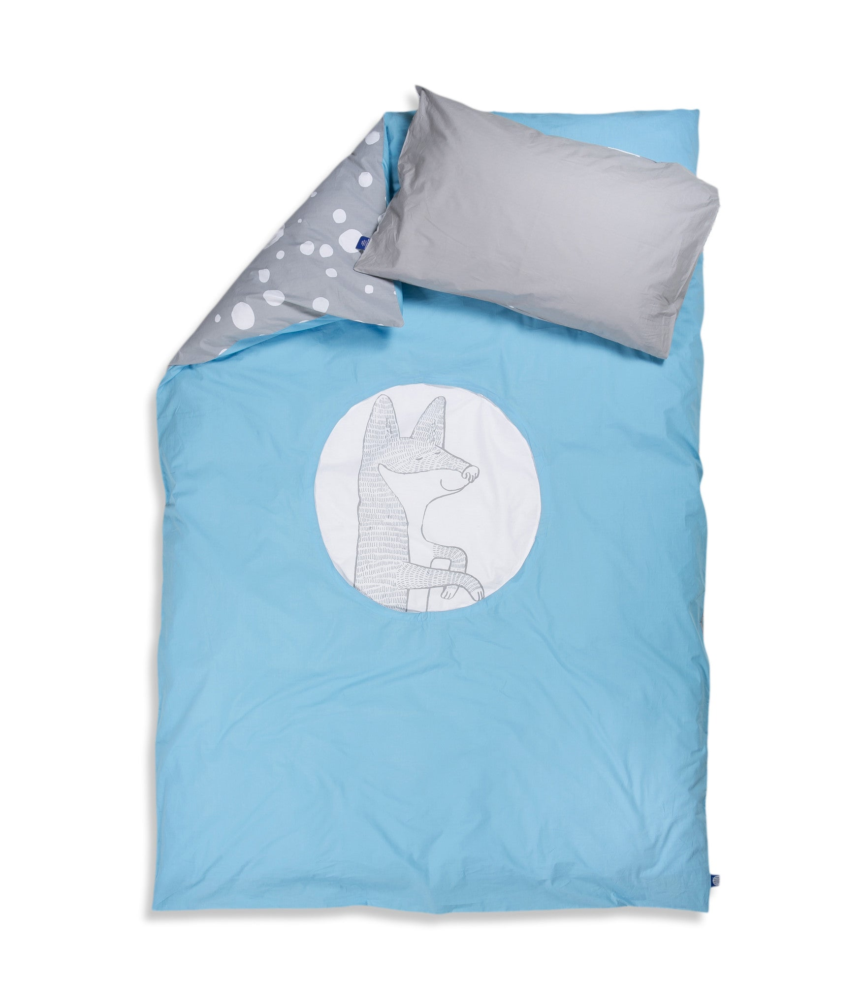 Organic cotton single bed set. Kids bedding. Grey pillow case and blue duvet cover with fox. Dotted pattern bed linen. Customised bedding.