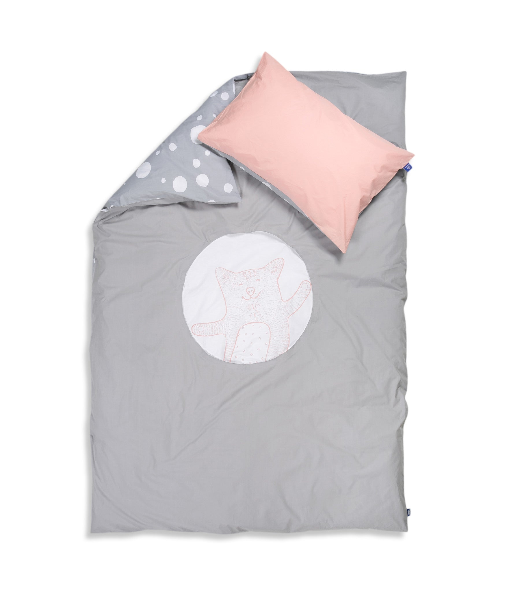 Organic cotton single bed set. Kids bedding. Pink pillow case and grey duvet cover with cat. Dotted pattern bed linen. Customised bedding.