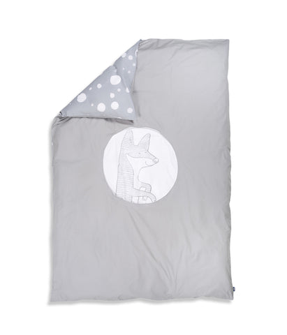 Organic cotton grey single bed duvet cover. Kids bedding. Grey colour. Dotted pattern bed linen. Main character fox Luna.