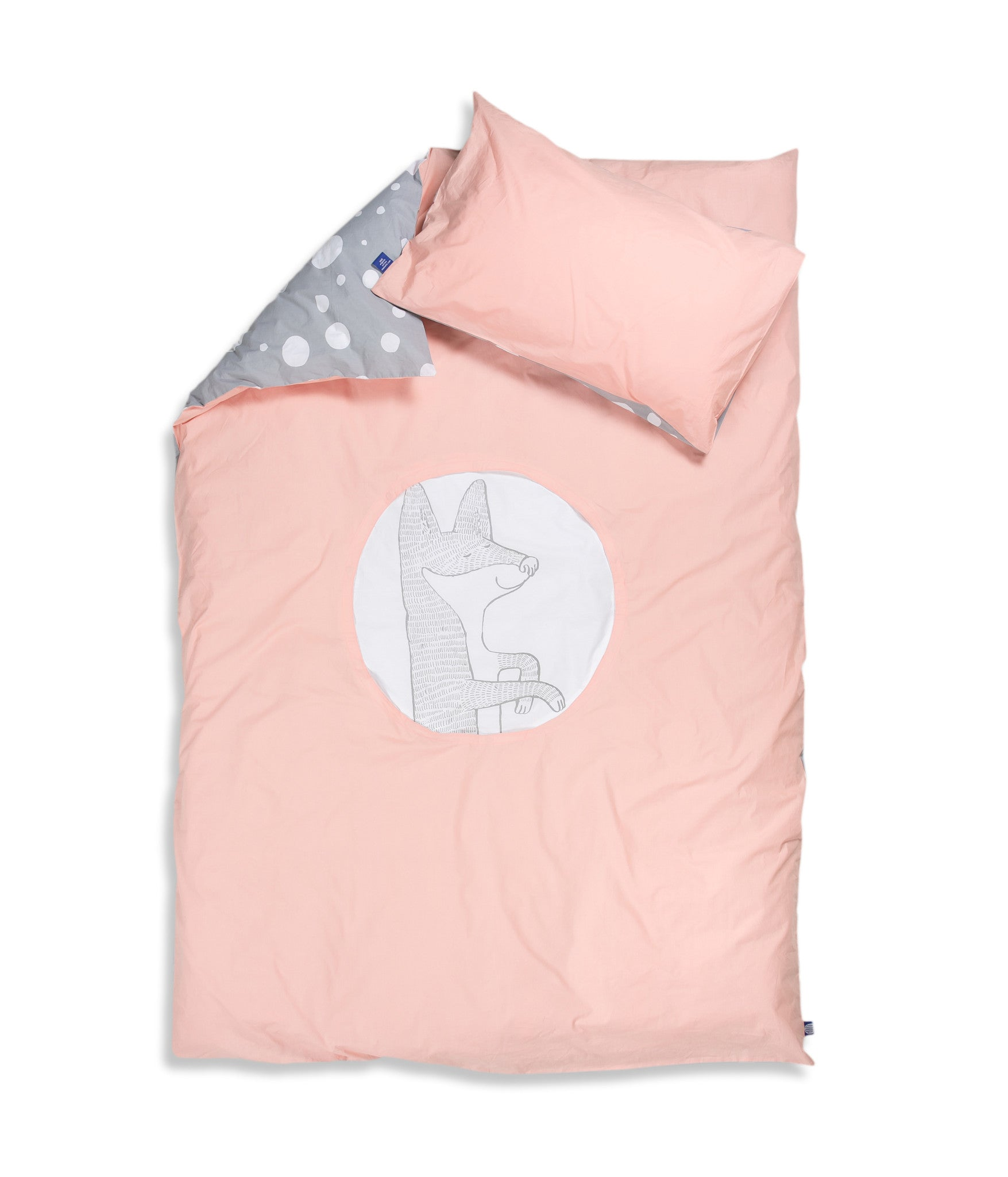 Organic cotton single bed set. Kids bedding. Pink pillow case and pink duvet cover with fox. Dotted pattern bed linen. Customised bedding.