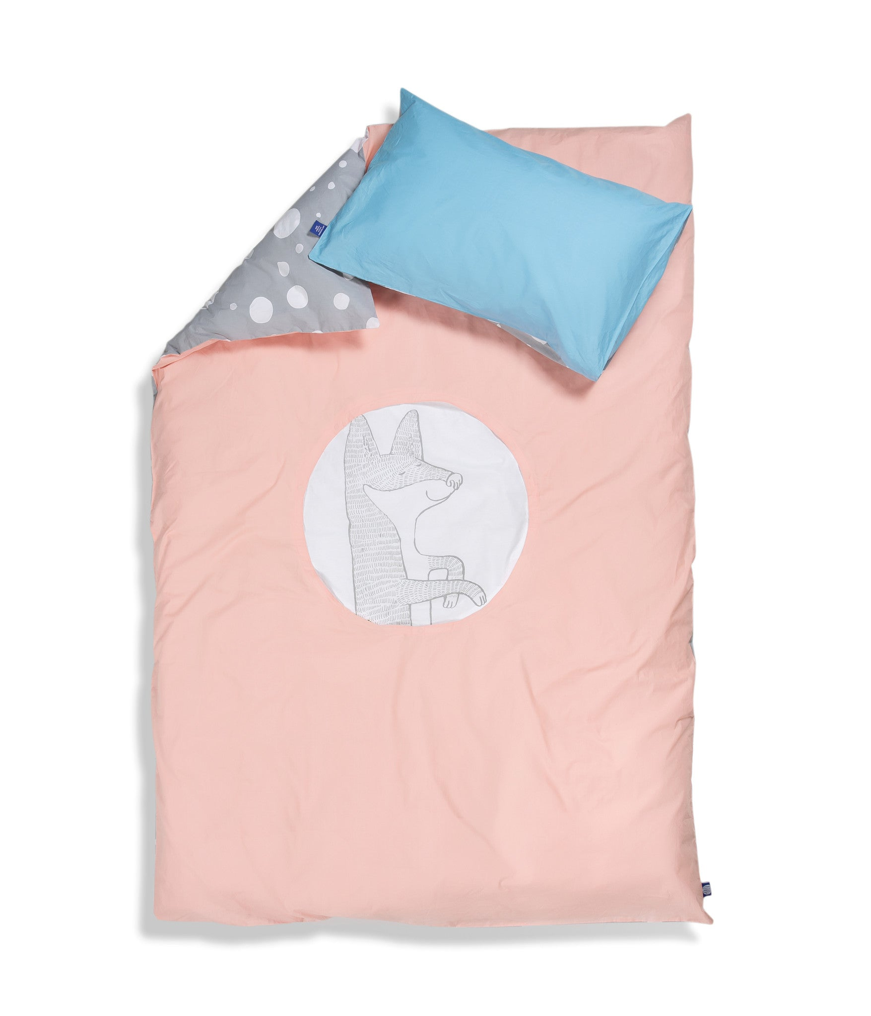 Organic cotton single bed set. Kids bedding. Blue pillow case and pink duvet cover with fox. Dotted pattern bed linen. Customised bedding.