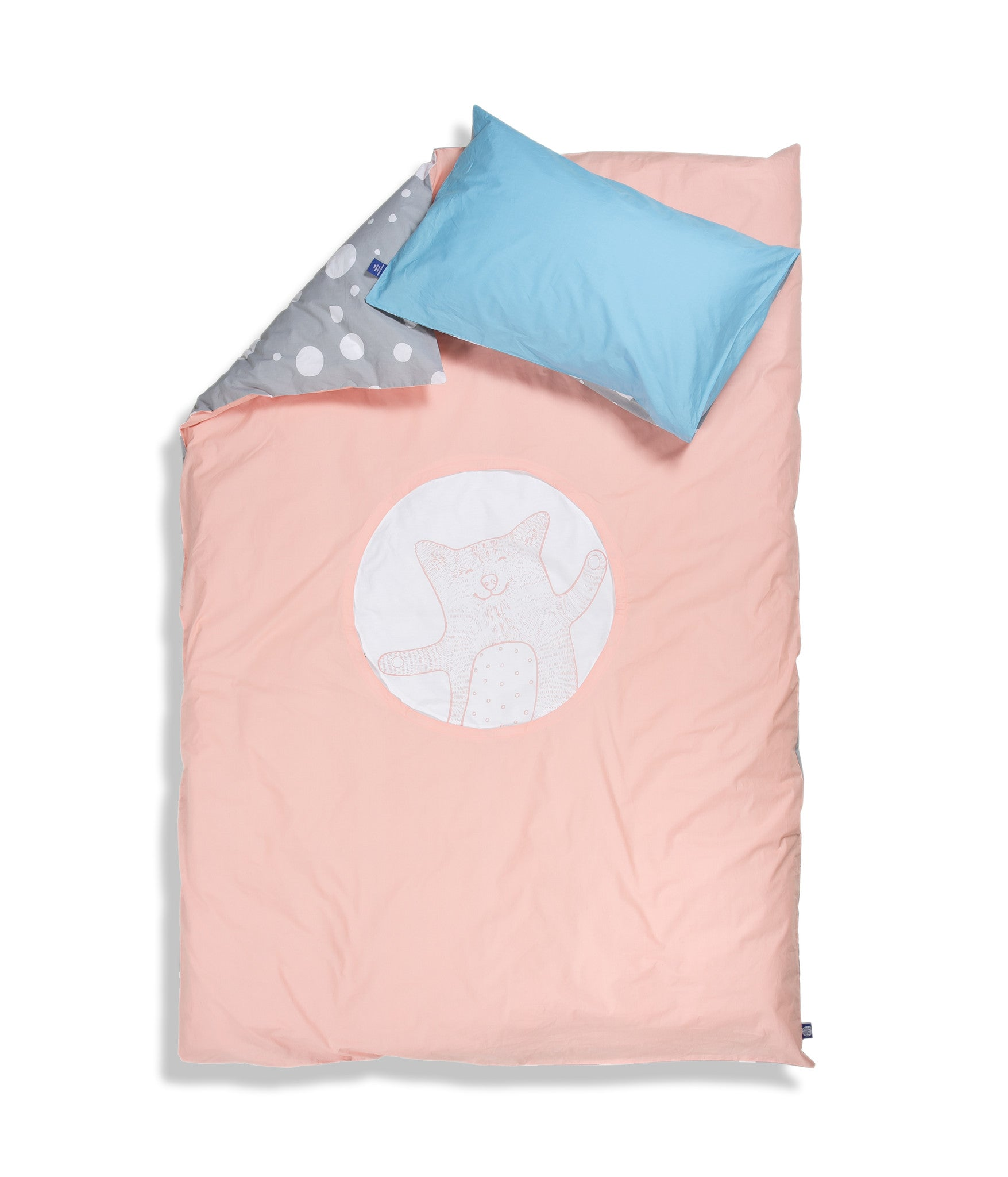 Organic cotton single bed set. Kids bedding. Blue pillow case and pink duvet cover with cat. Dotted pattern bed linen. Customised bedding.